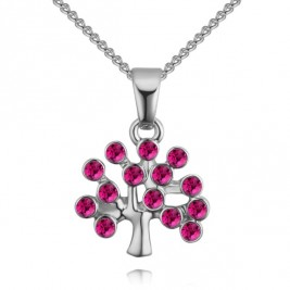 Colier Tree of life silver ciclama
