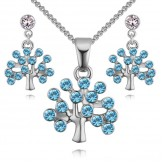 Set Tree of life silver aqua
