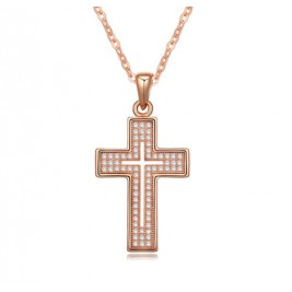 Colier cruce rose gold