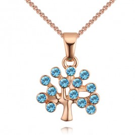 Colier Tree of life gold aqua